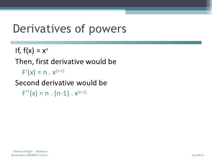 application of derivatives in commerce and economics