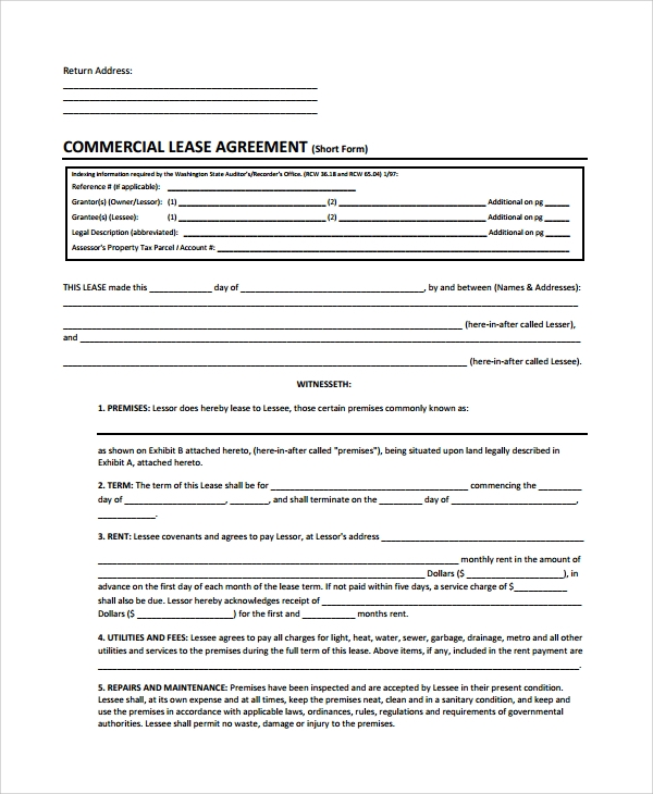 commercial real estate lease application