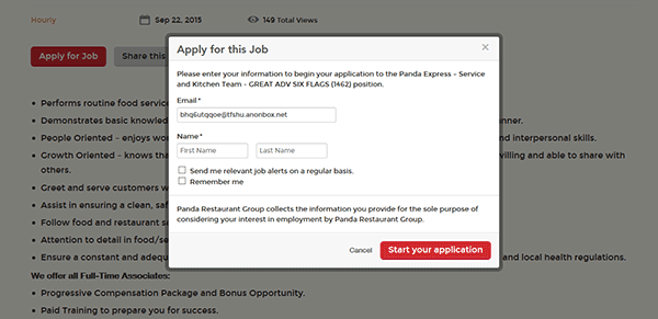 panda express job application form