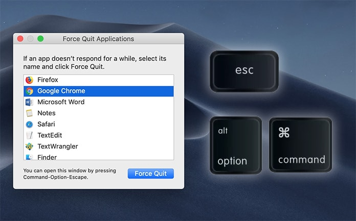 how to force quit an application on mac