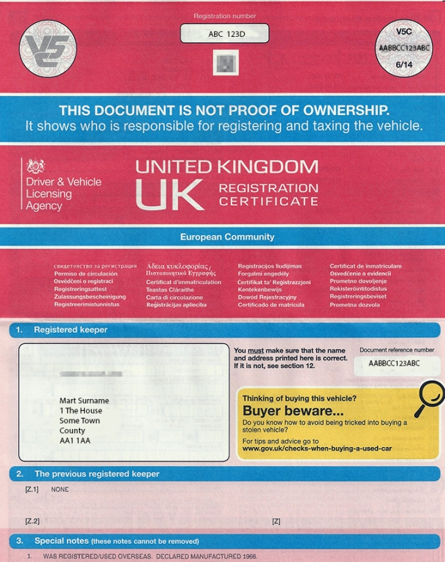 application for a vehicle registration certificate