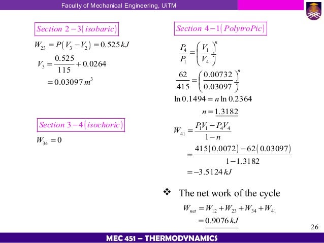 application of 1st law of thermodynamics