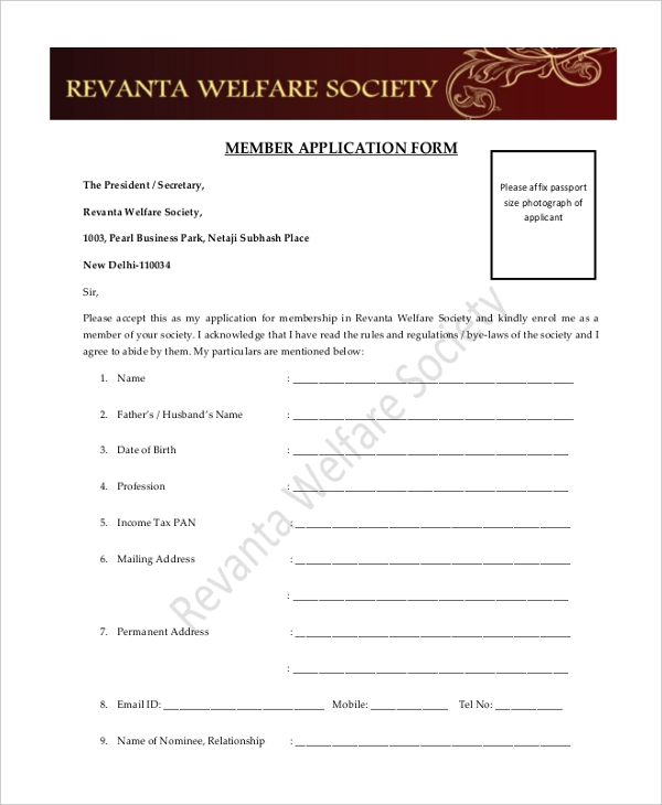 social club membership application form template